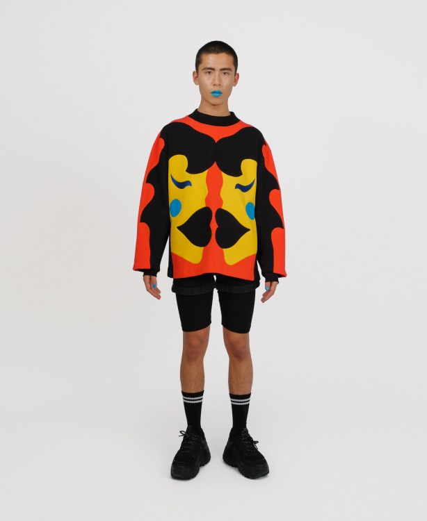 genderless sweatshirt in patchwork