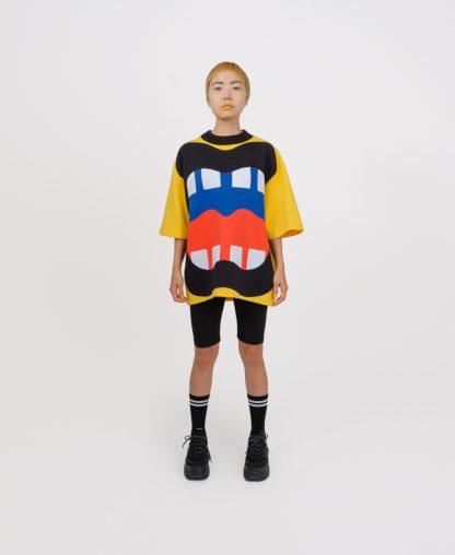 Yellow patchwork genderless sweatshirt