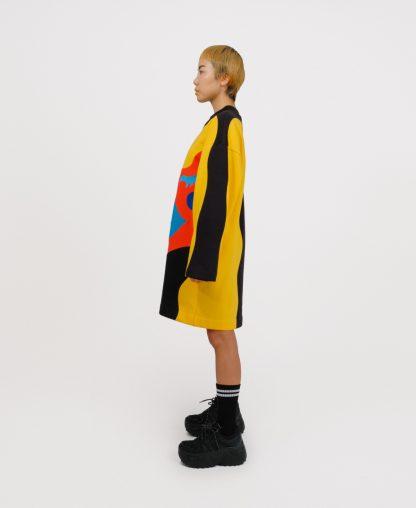 Black patchwork genderless dress
