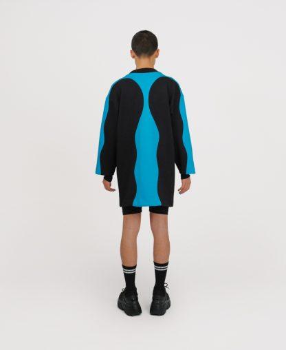 Blue patchwork genderless dress