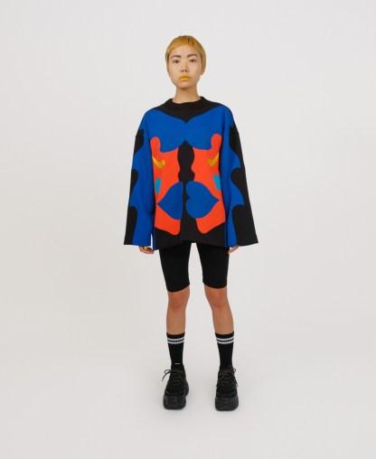 blue patchwork genderless sweatshirt
