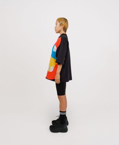 Black patchwork genderless sweatshirt
