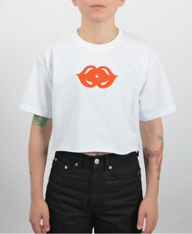 Embroidered-kiss-cropped-t-shirt