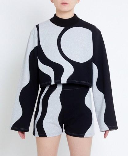 Cropped sweatshirt in patchwork