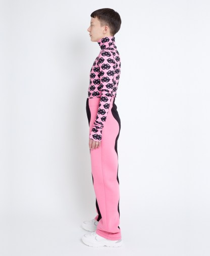 Pink sweatpants in patchwork